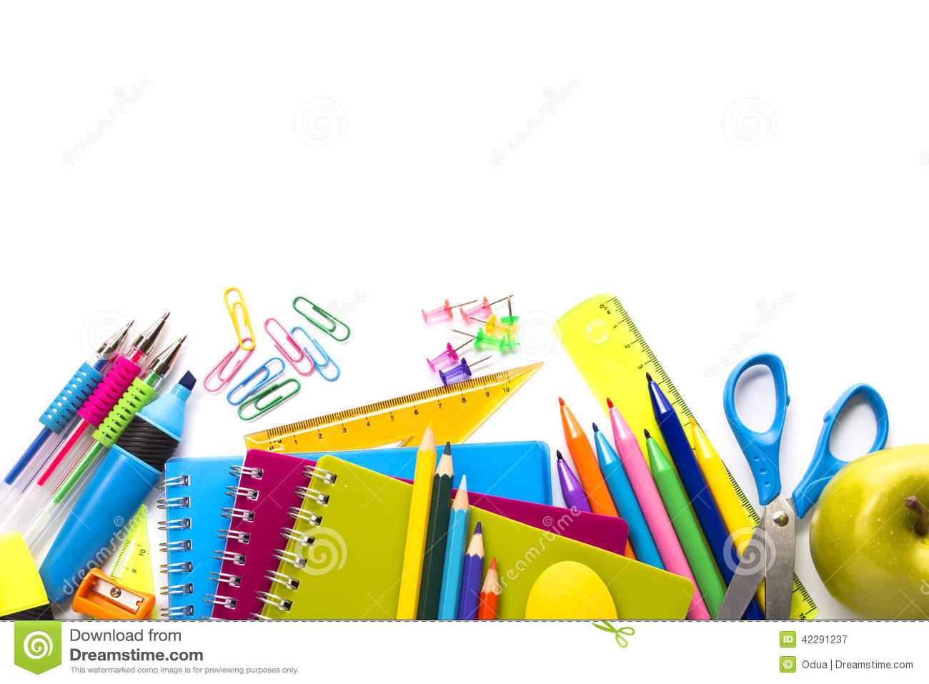 School Supplies On White Background Stock Photo Image