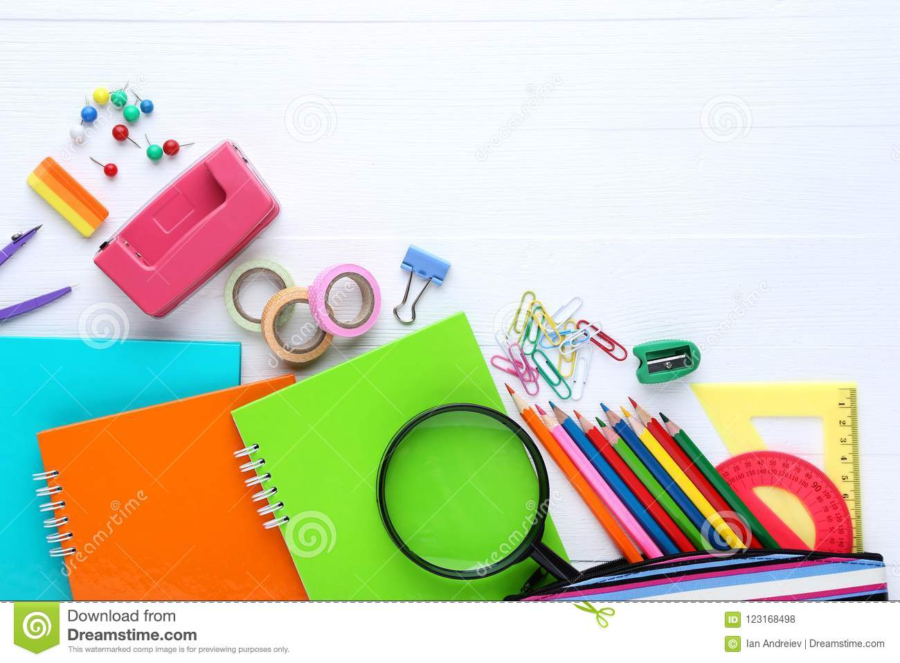 School supplies stock photo  Image of college, class - 123168498