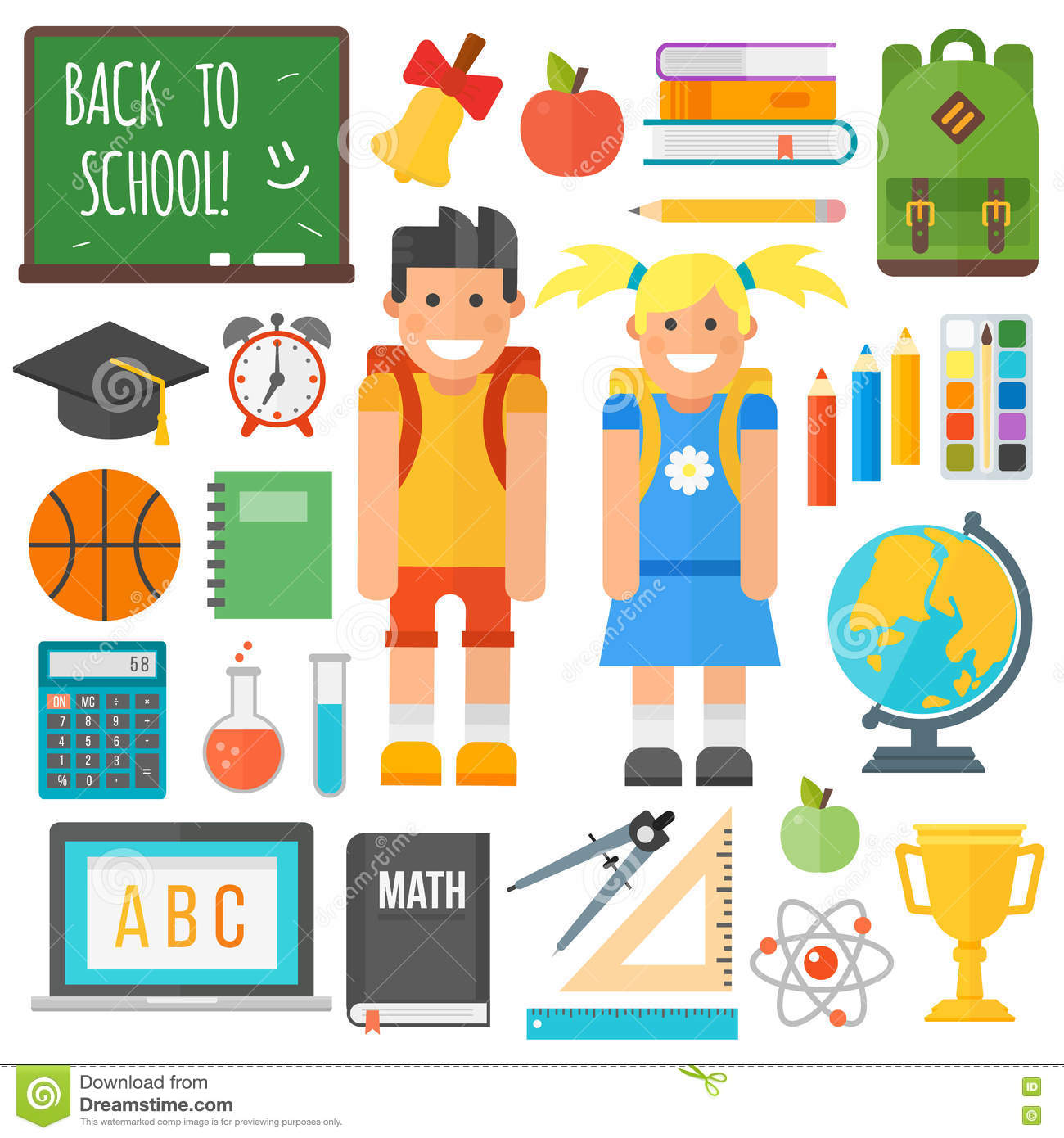 School symbols and kids set stock illustration illustration of school symbols and kids set biocorpaavc Image collections