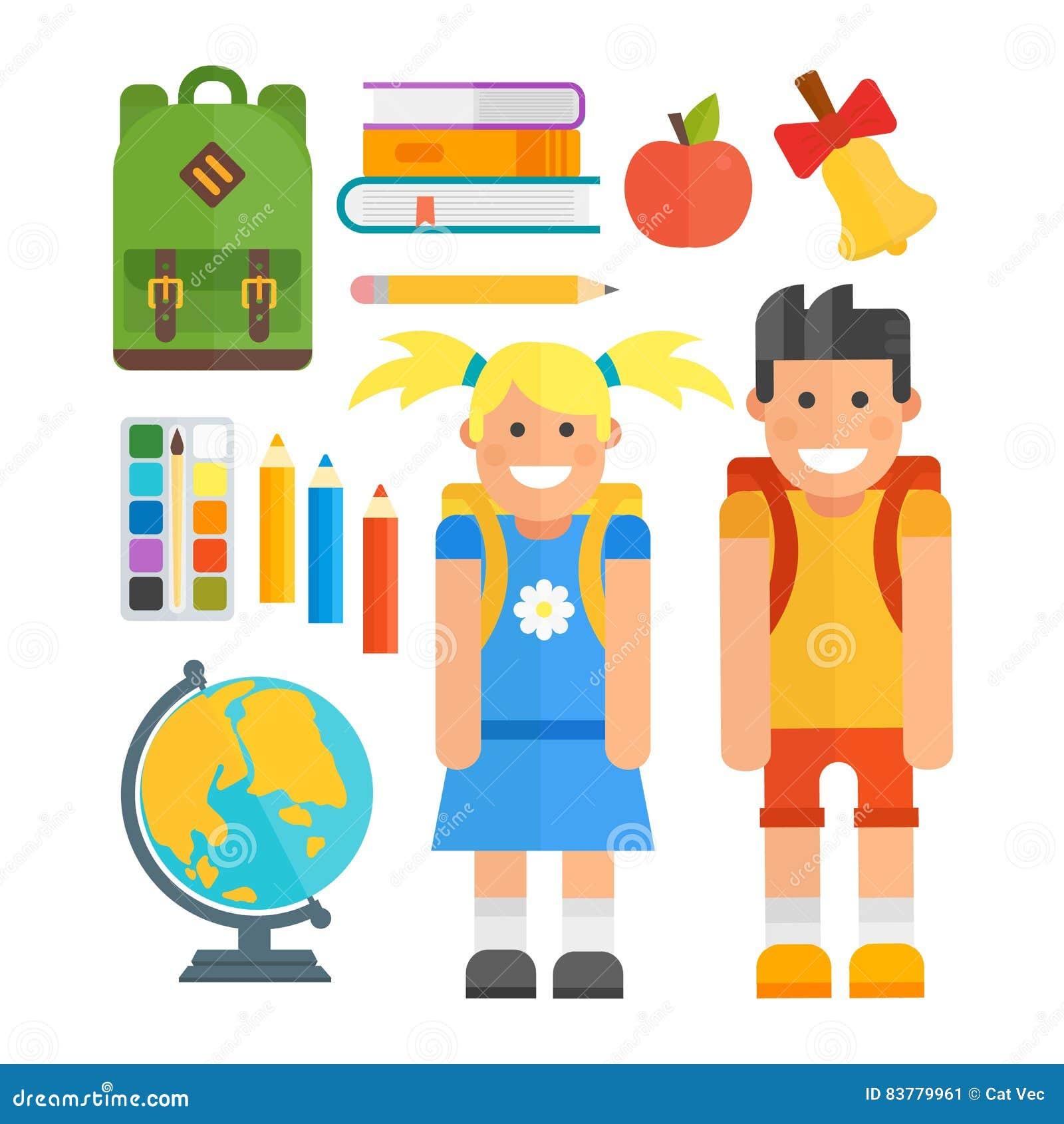 School symbols and kids vector set stock vector illustration of school symbols and kids vector set buycottarizona Image collections