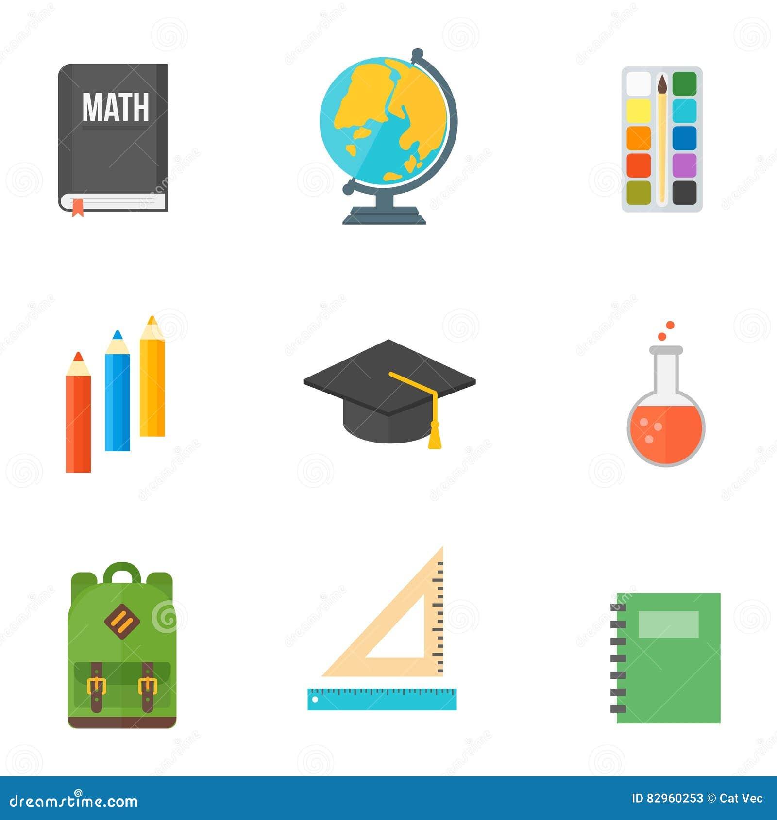 School symbols vector set stock vector illustration of knowledge school symbols vector set knowledge illustration buycottarizona Image collections