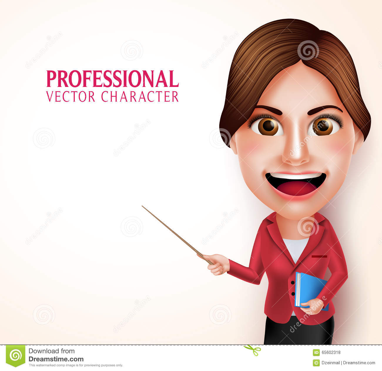 School Teacher Vector Character Smiling Holding Books While Teaching
