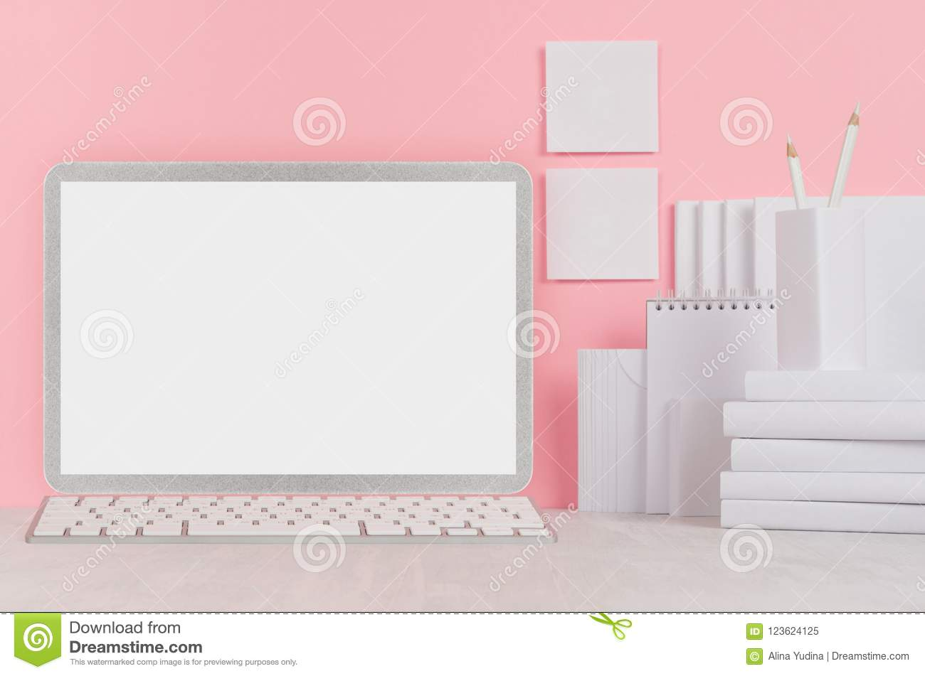 school template white books stationery blank stickers and
