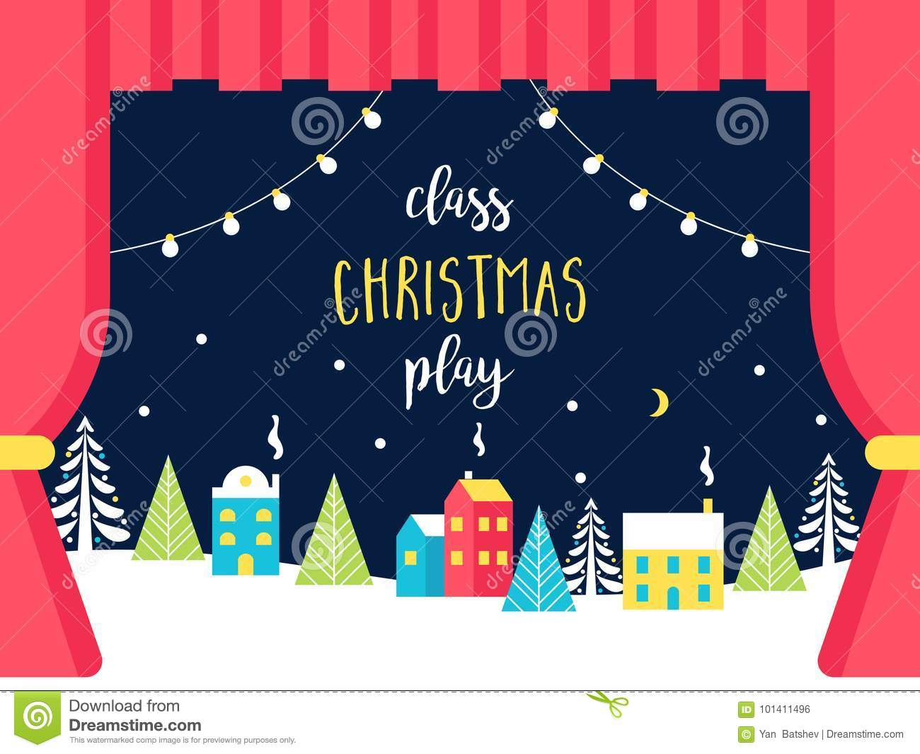 school or theatre stage decorations for christmas or new year play snowy winter wonderland and