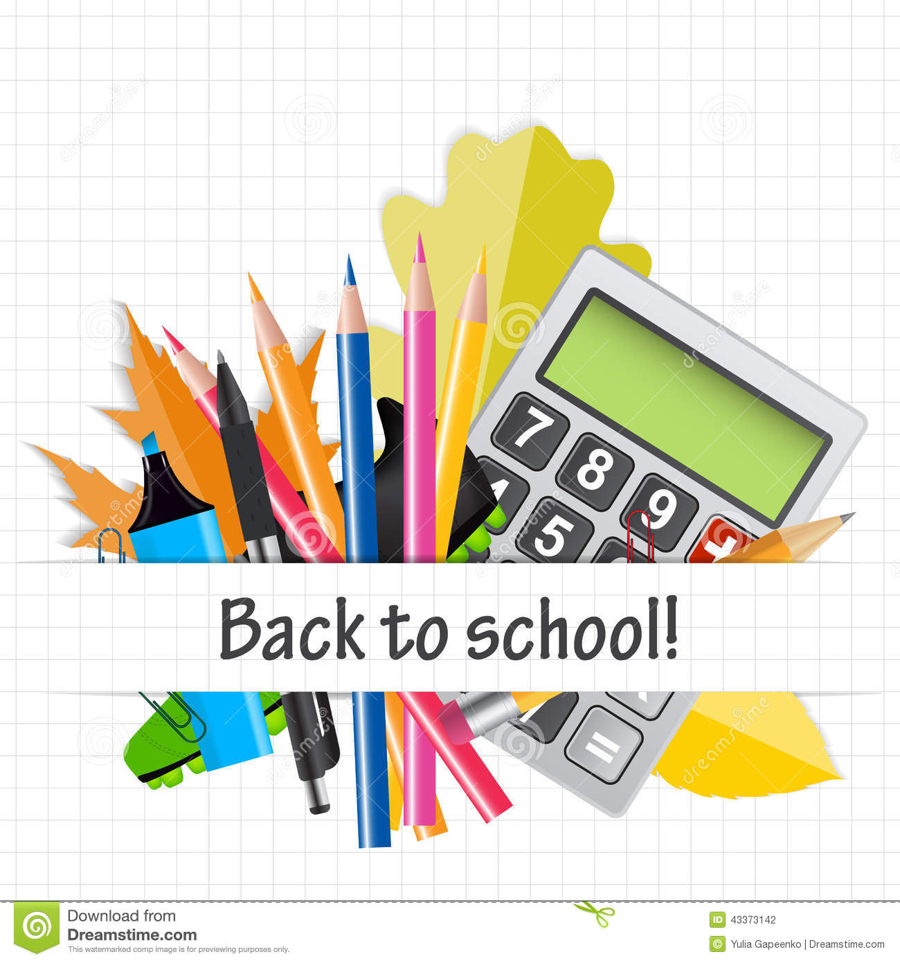 School Theme Background With Different Tools. Stock Vector ...