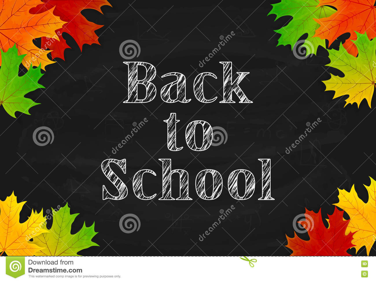 school theme with black chalkboard and maple leaves stock vector