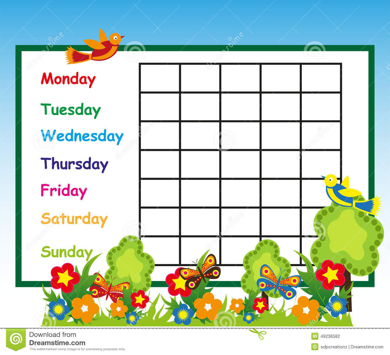 Quotes On School Time Table: School Time Table Stock Illustration. Image Of Plan