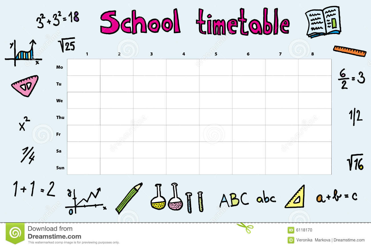 School timetable stock vector Image of math illustration 6118170 – School Time Table Designs