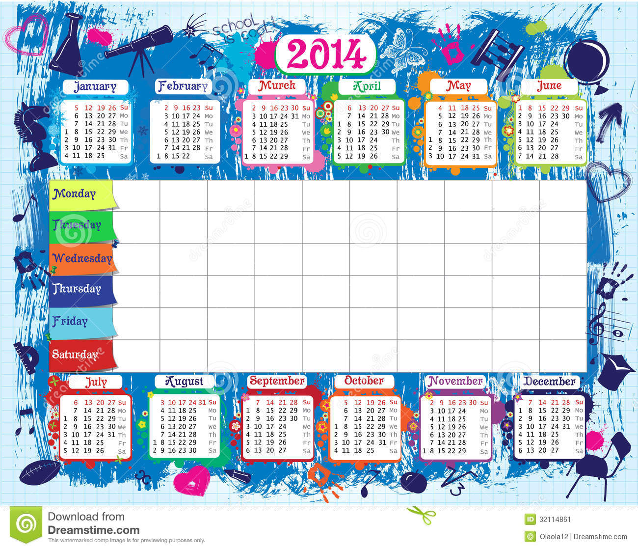 School Timetable And Calendar Image Image 32114861 – School Time Table Designs