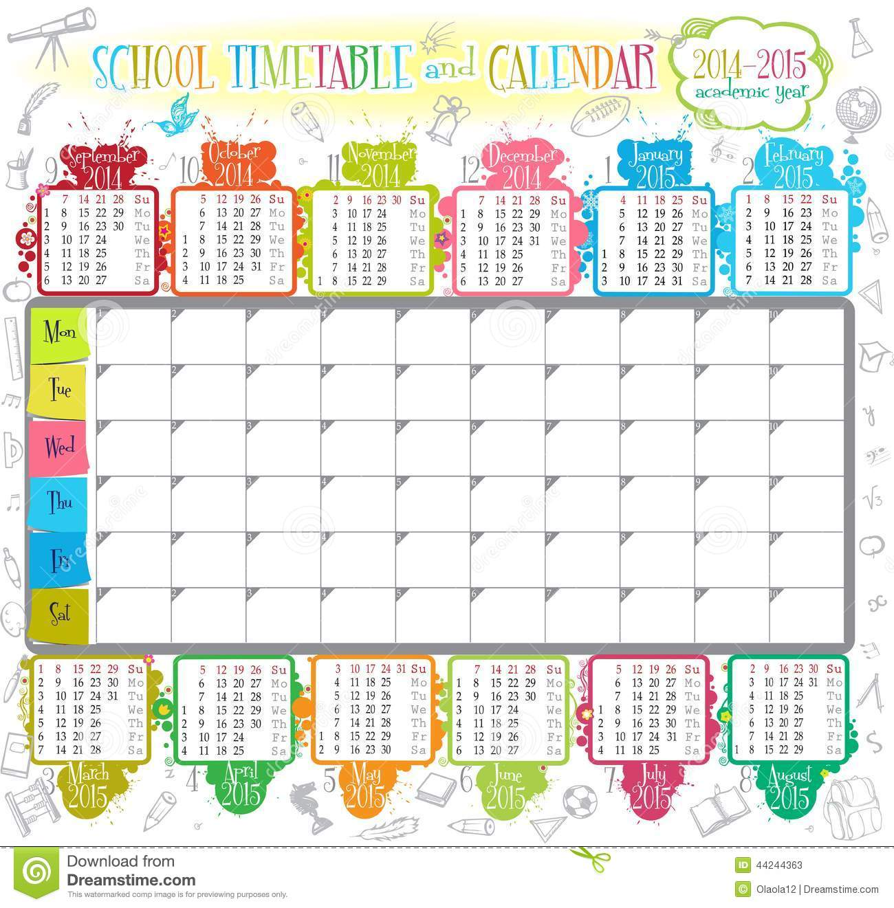 school timetable stock vector image of clip illustration