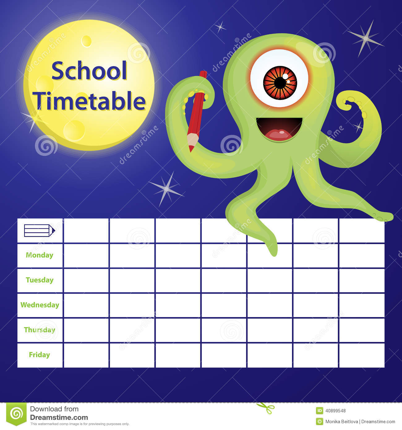 School Timetable With Cartoon Monster Stock Vector Image