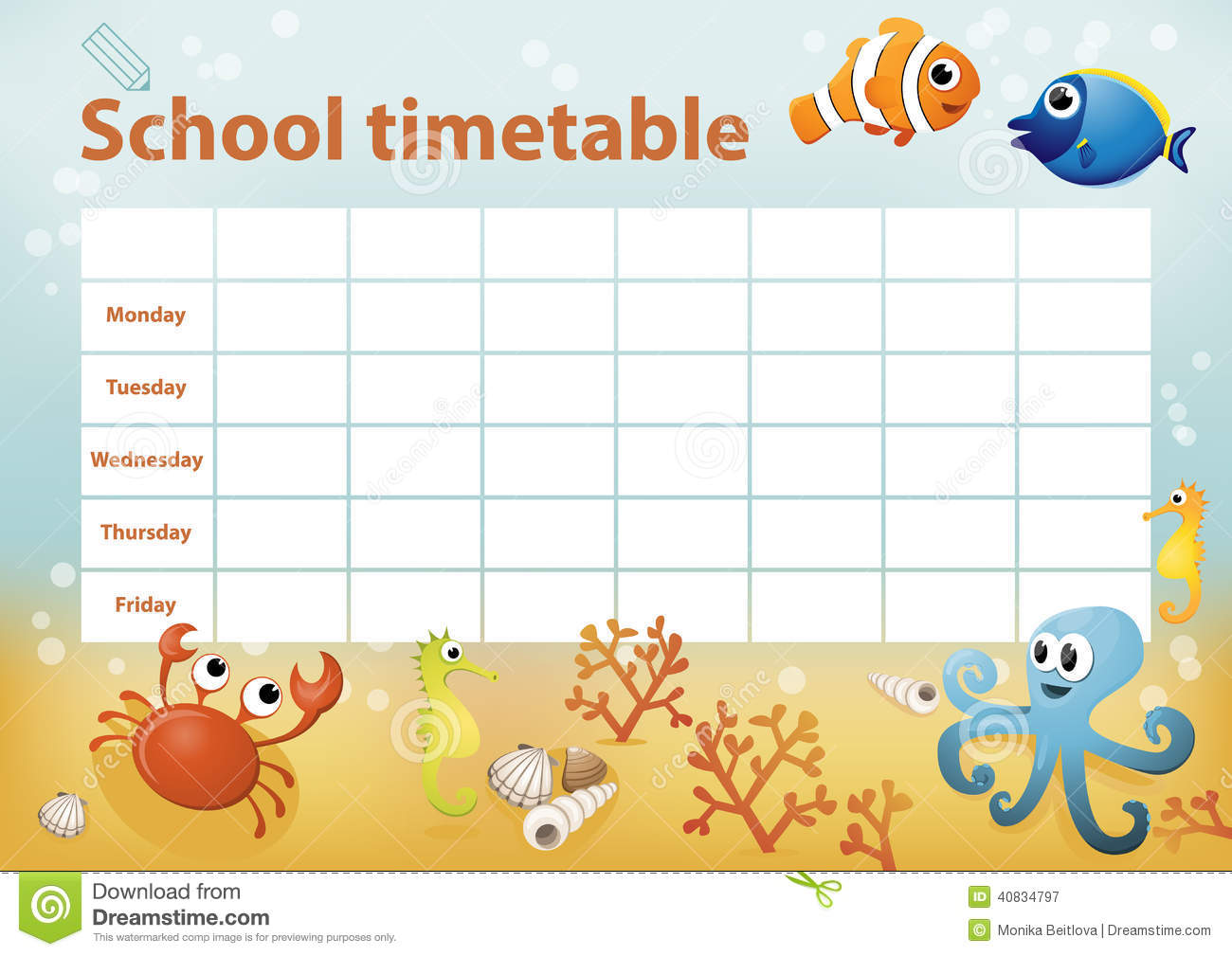 School Timetable With Cartoon Sea Animals In Background – Timetable Template School