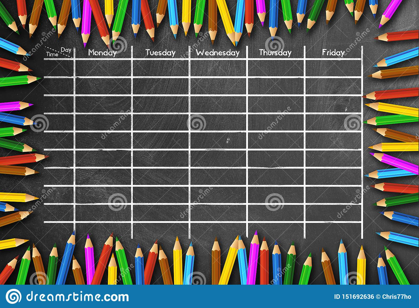 School timetable or class schedule template on chalkboard framed by colored pencils