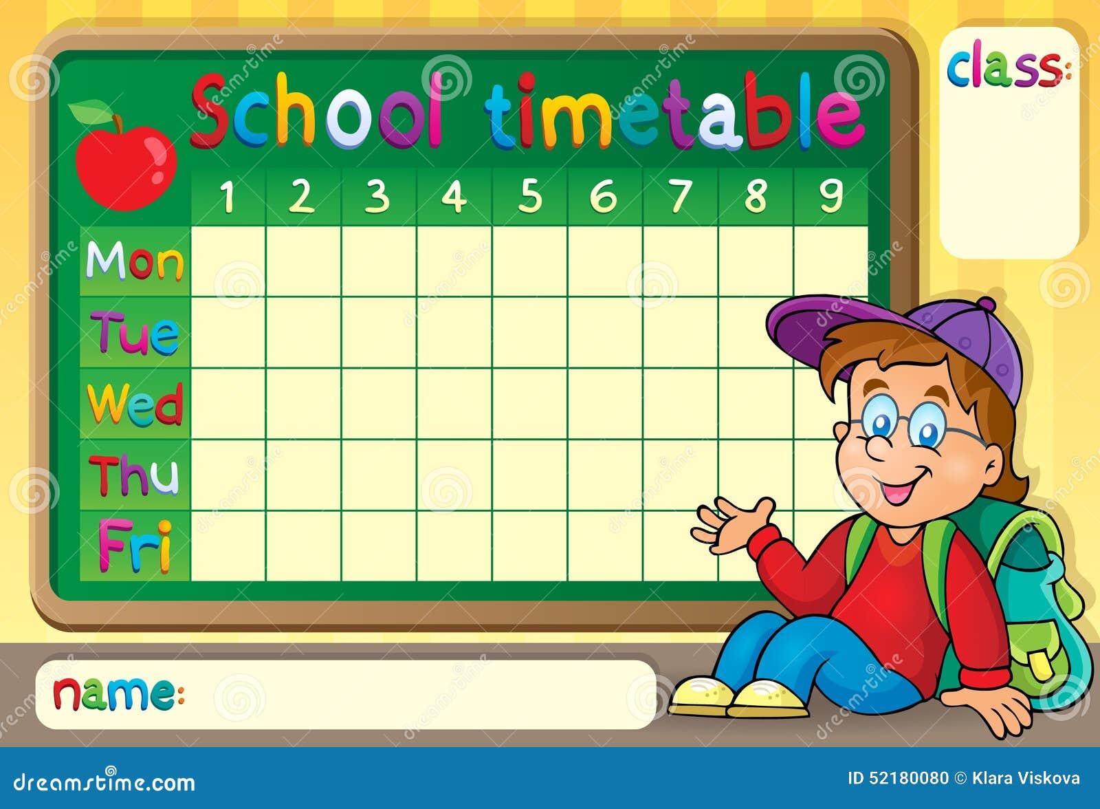 School Timetable With Happy Boy Stock Vector Image 52180080
