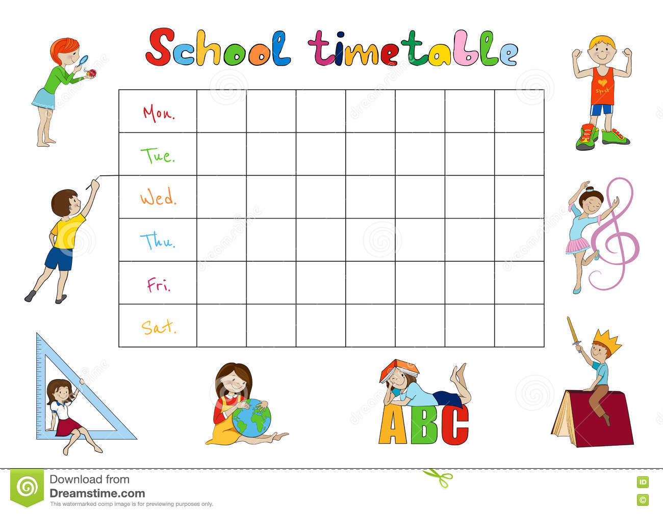 School Timetable, Kids Weekly Planner Vector Stock Vector - Image ...