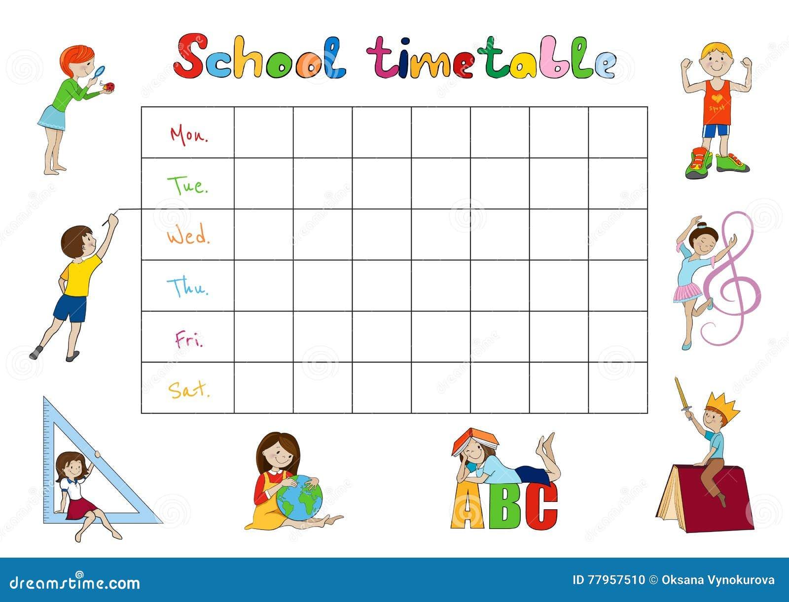 Weekly Calendar Cartoon : School timetable kids weekly planner vector stock