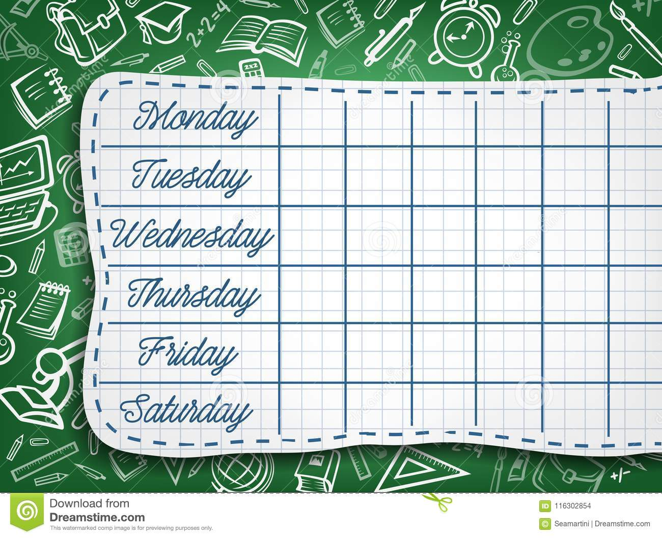 School Timetable, Weekly Lesson Schedule Template Stock Vector ...