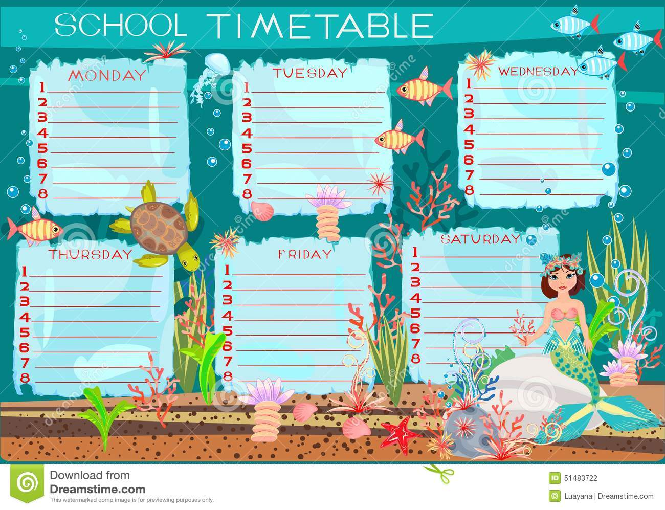 School Timetable With Mermaid Stock Vector - Image: 51483722