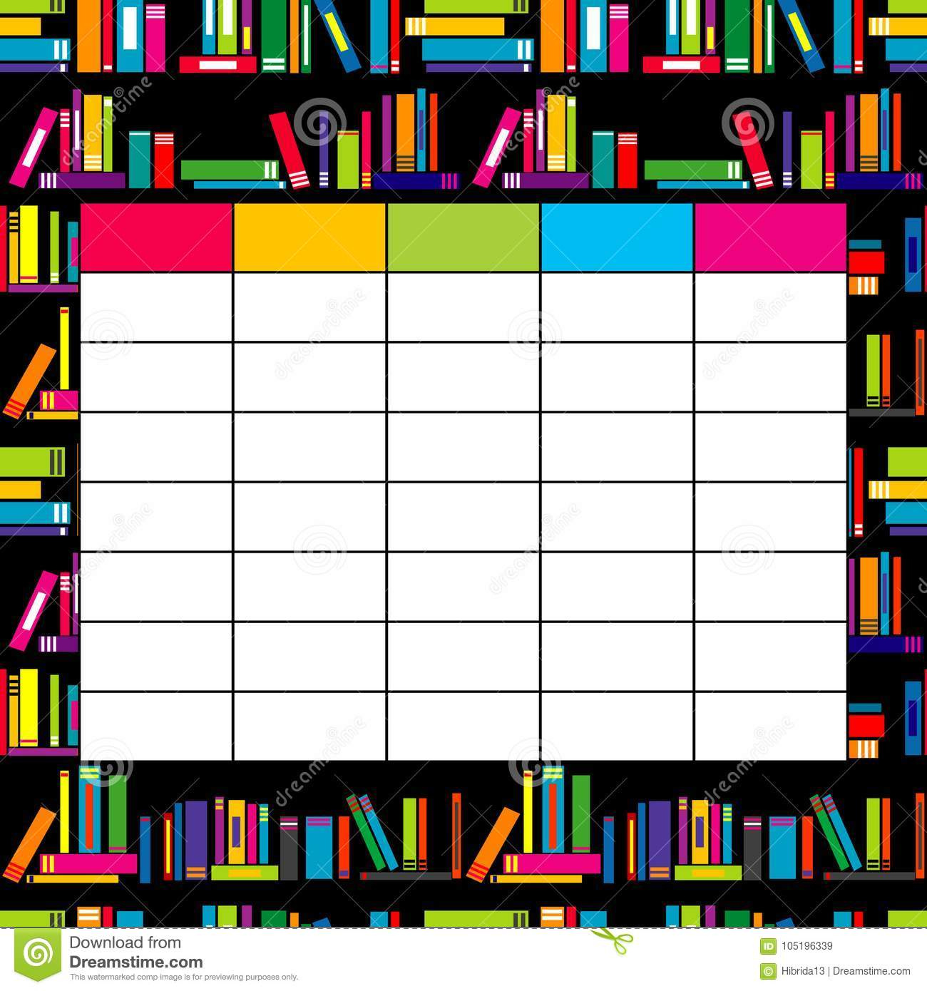 school timetable template with books for students and pupils stock