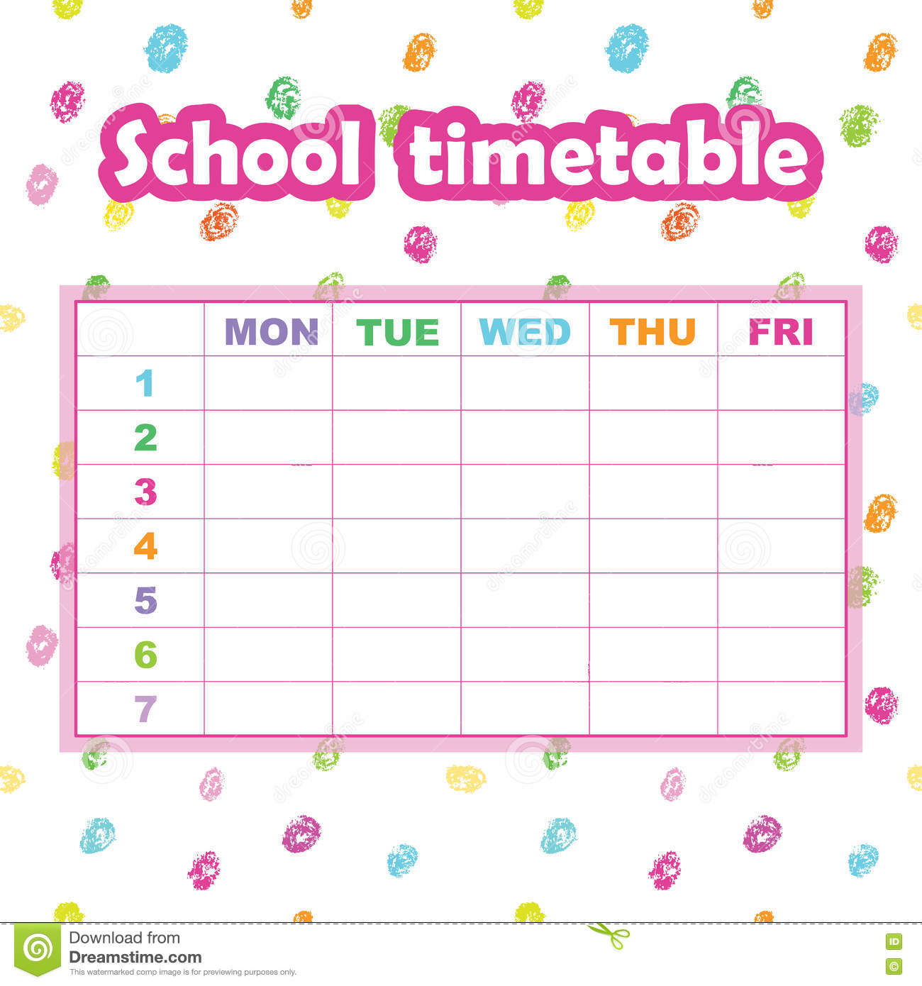 School Timetable Template For Students And Pupils Abstract Scri – Timetable Template School