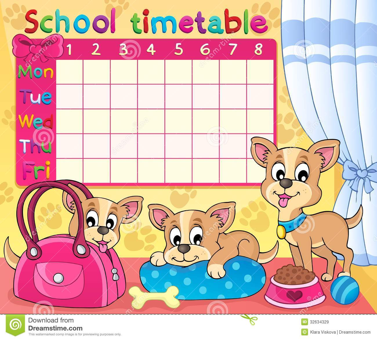 Drawing Tables For Kids : school timetable thematic image eps vector illustration 32634329 from www.tehroony.com size 1300 x 1172 jpeg 170kB