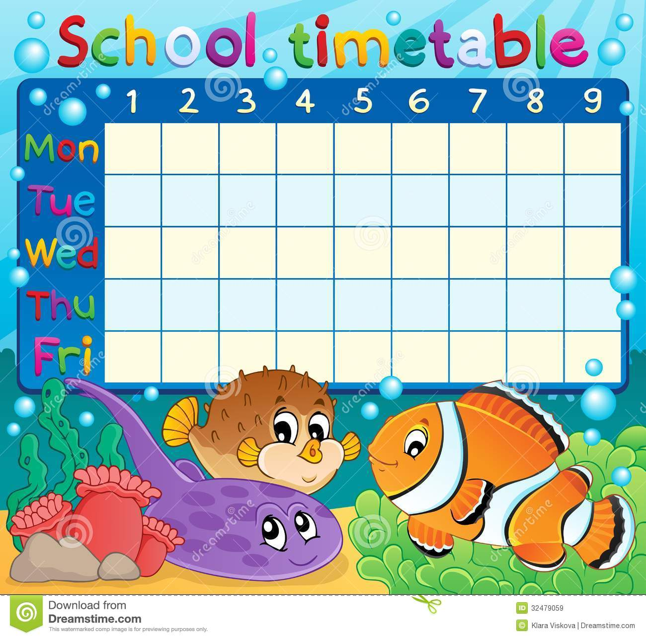 school timetable theme image 6 stock vector image 32479059