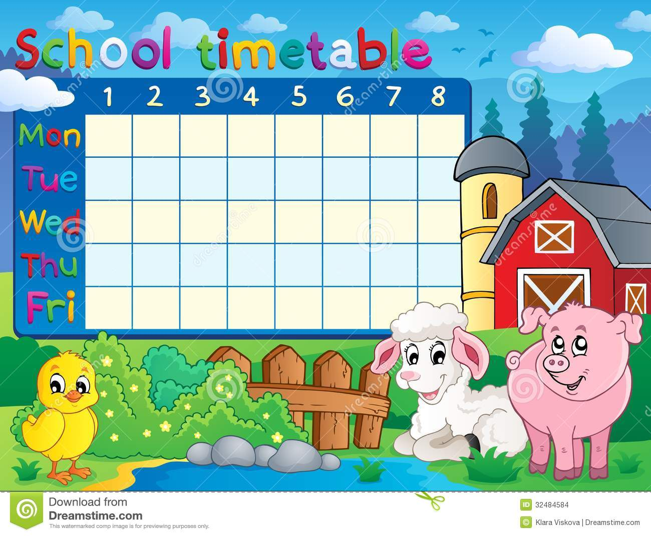 School Timetable Topic Image 1 Stock Vector Image 32484584