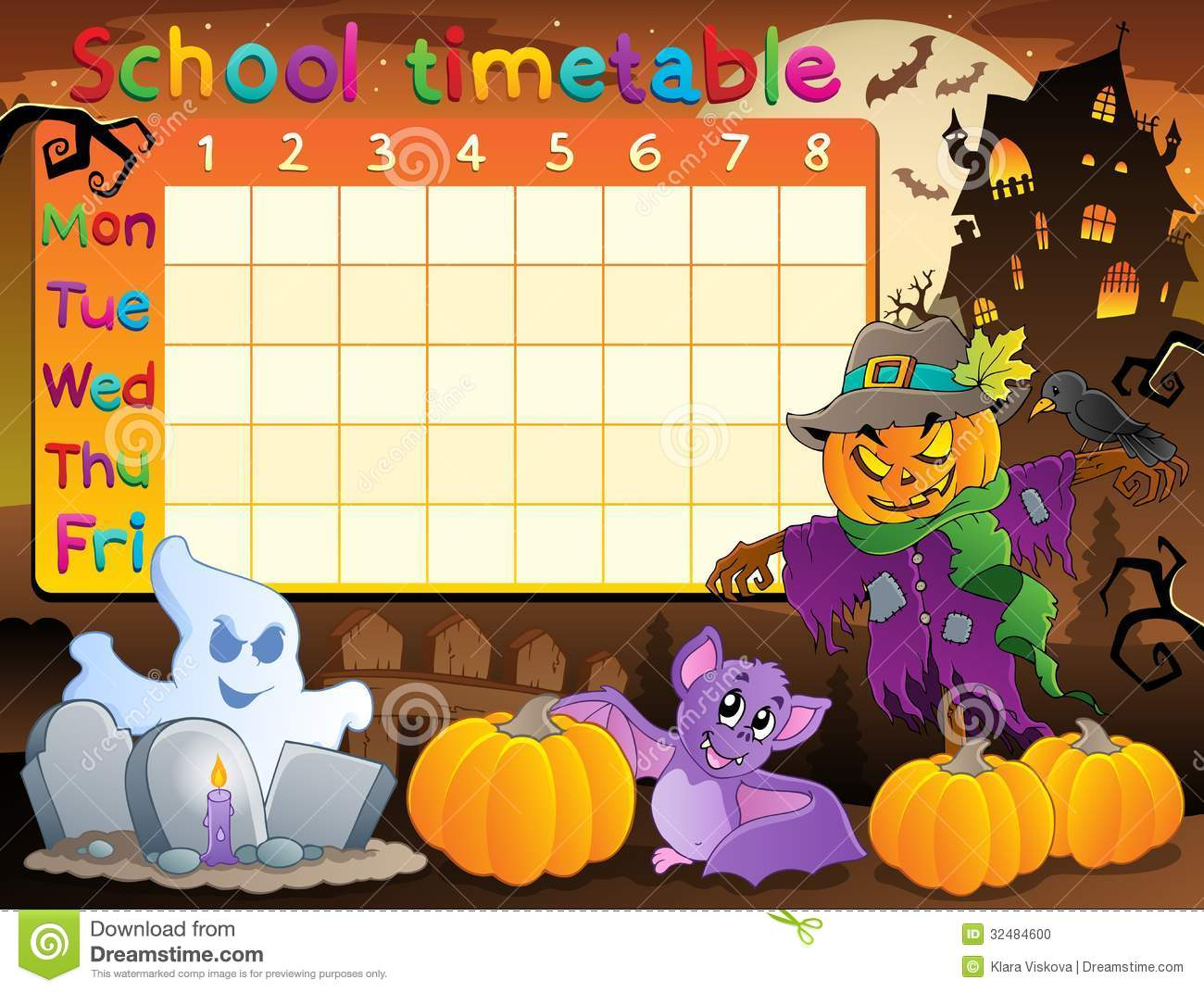 School Timetable Topic Image 2 Photo Image 32484600 – School Time Table Designs