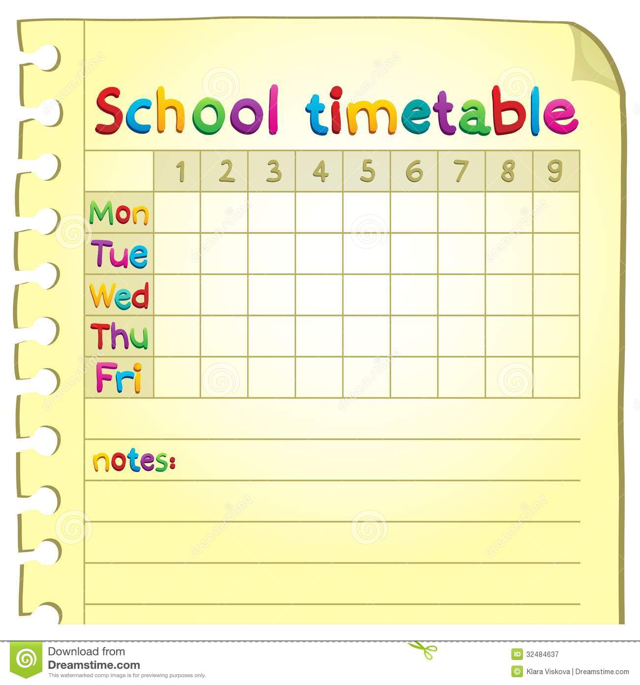 Quotes On School Time Table: School Timetable Topic Image 4 Stock Vector