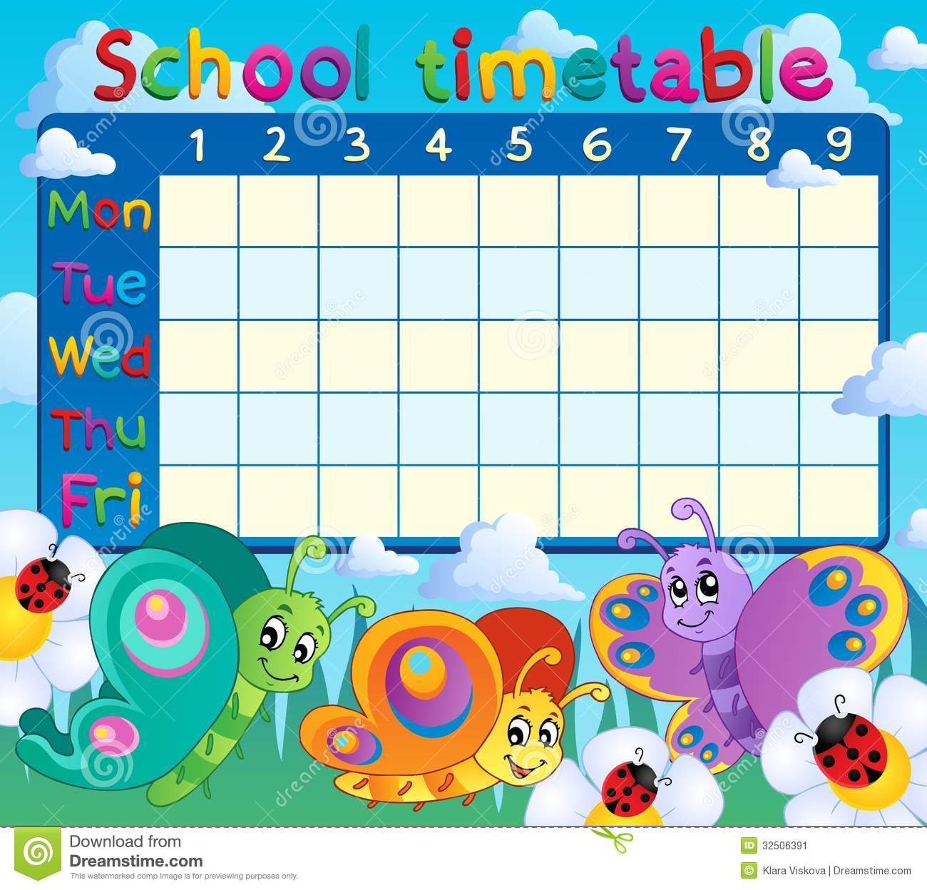 School Timetable Topic Image 7 Stock Image Image 32506391