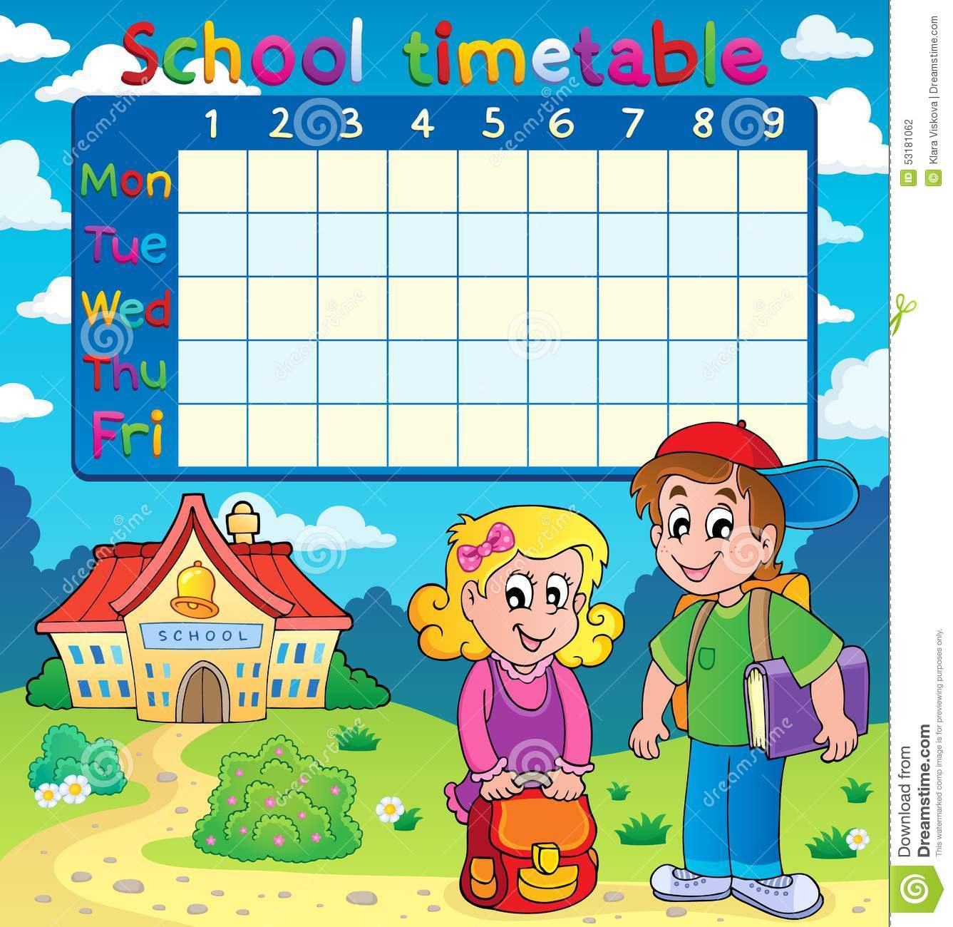 Quotes On School Time Table: School Timetable With Two Children Stock Vector