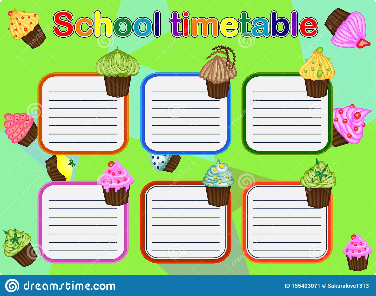School Timetable, a weekly curriculum design template, scalable graphic with watercolor butterflies