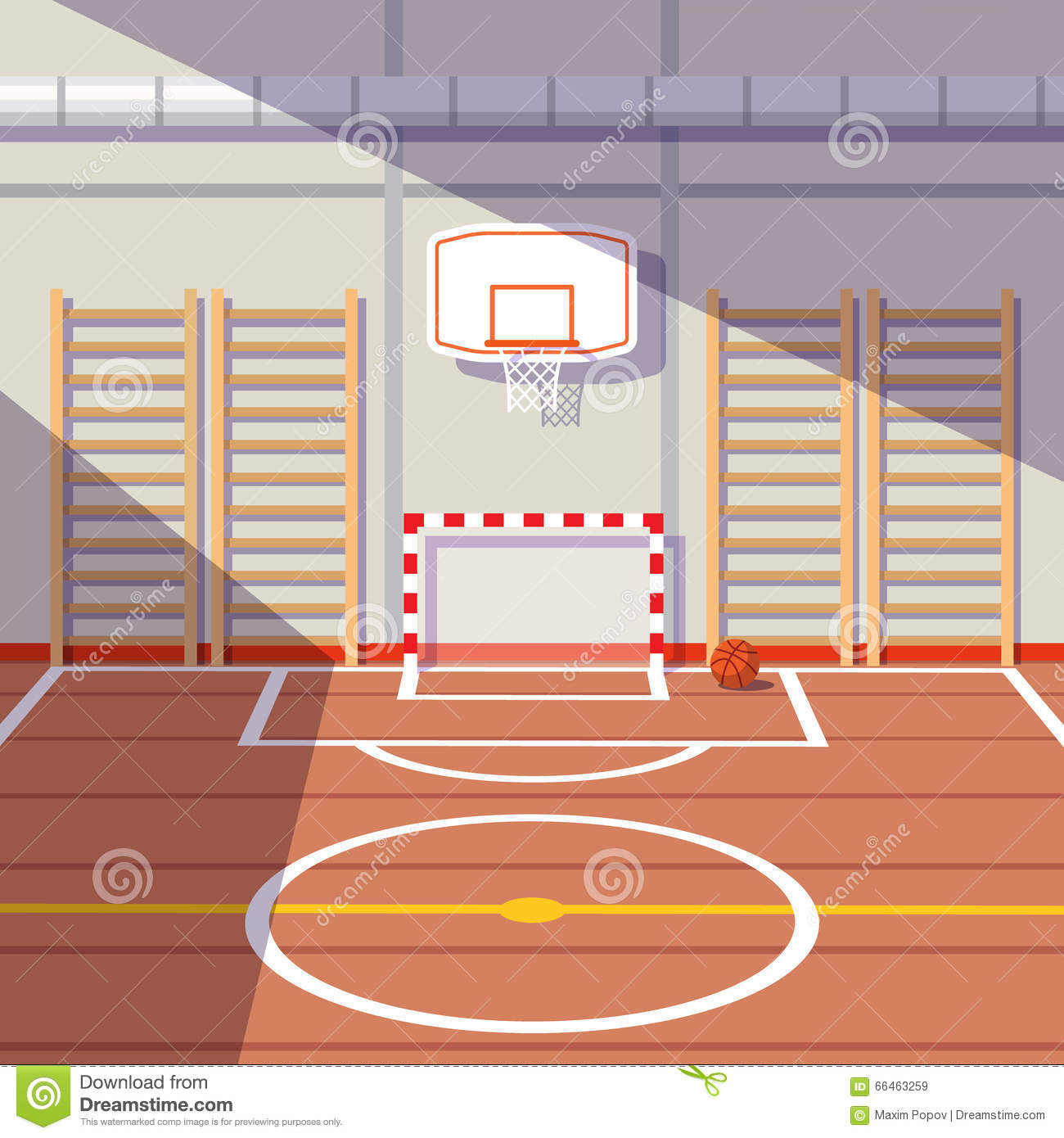Basketball Gym Floor Plans School Or University Gym Hall Stock Vector Image 66463259