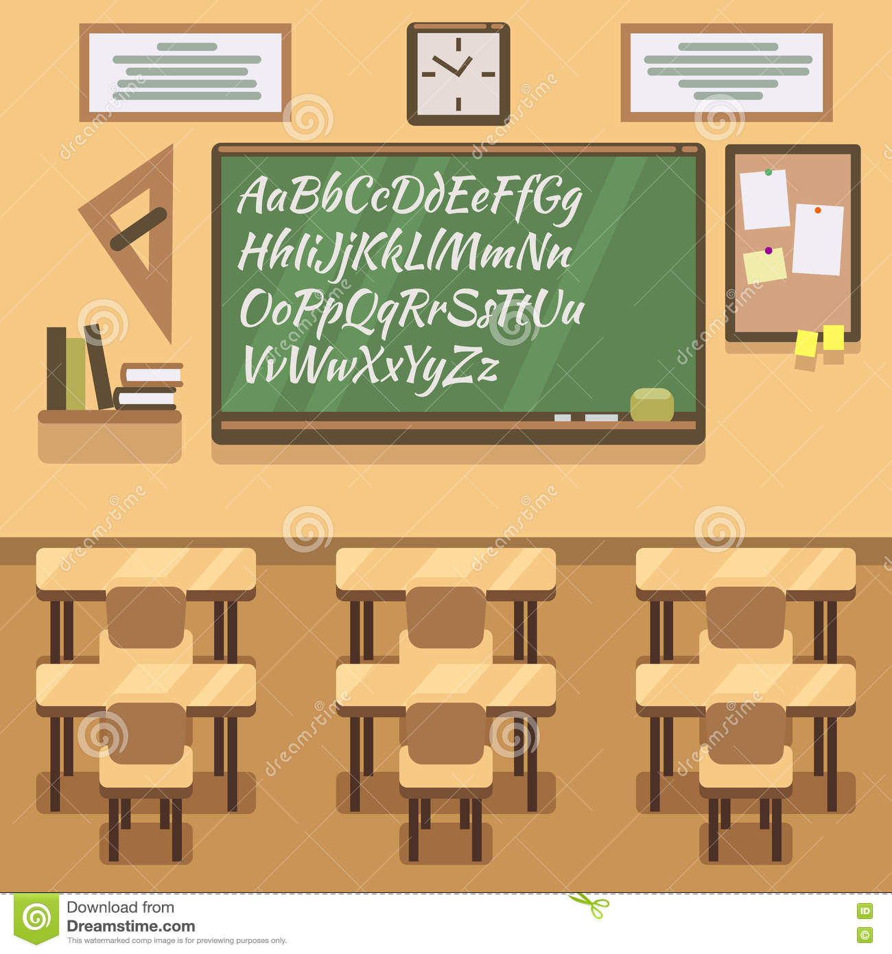 Modern Classroom Vector : School university institute college classroom with