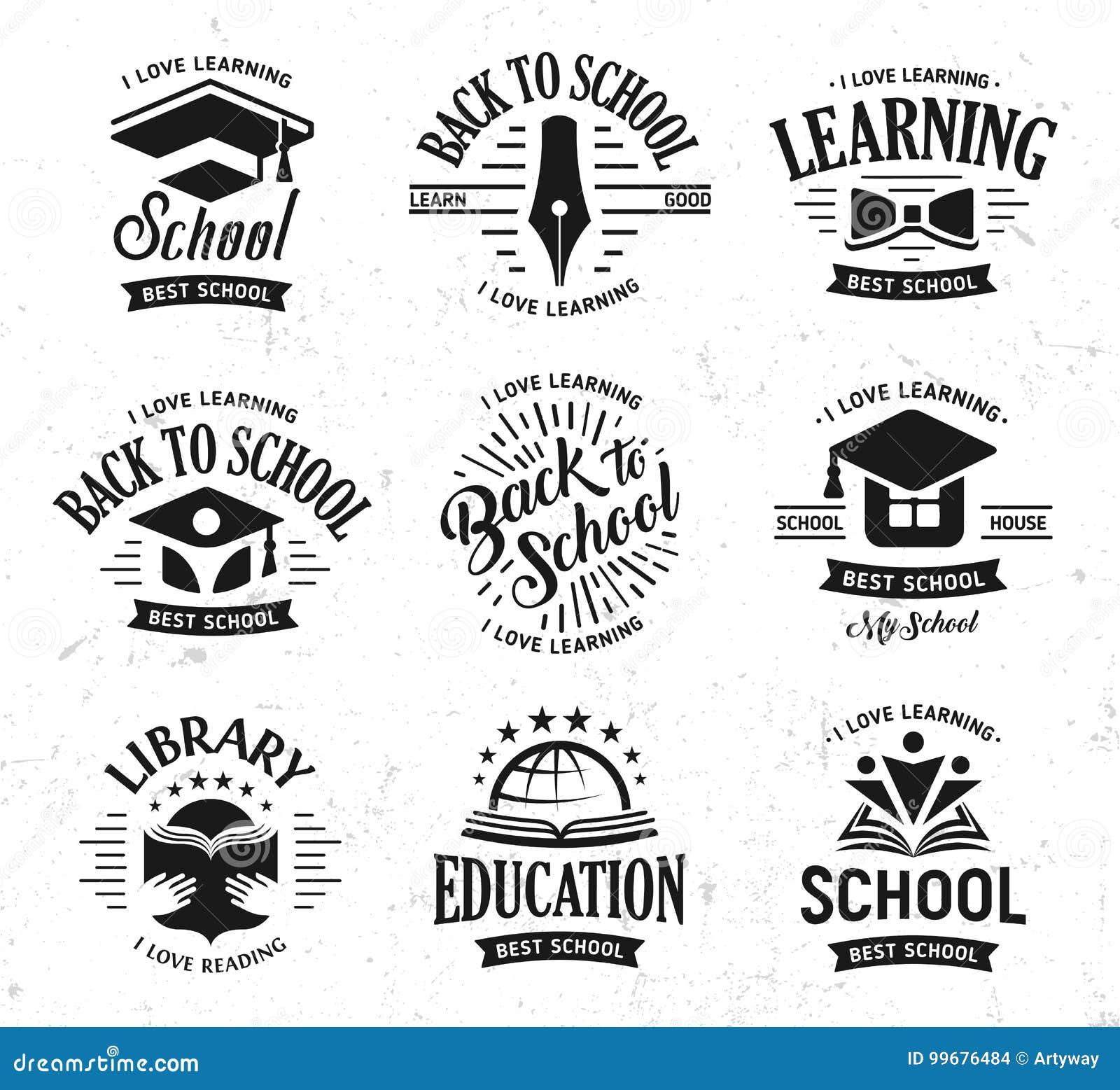 School vector logos set, monochrome vintage design education signs. Back to school, university, college, learning logo