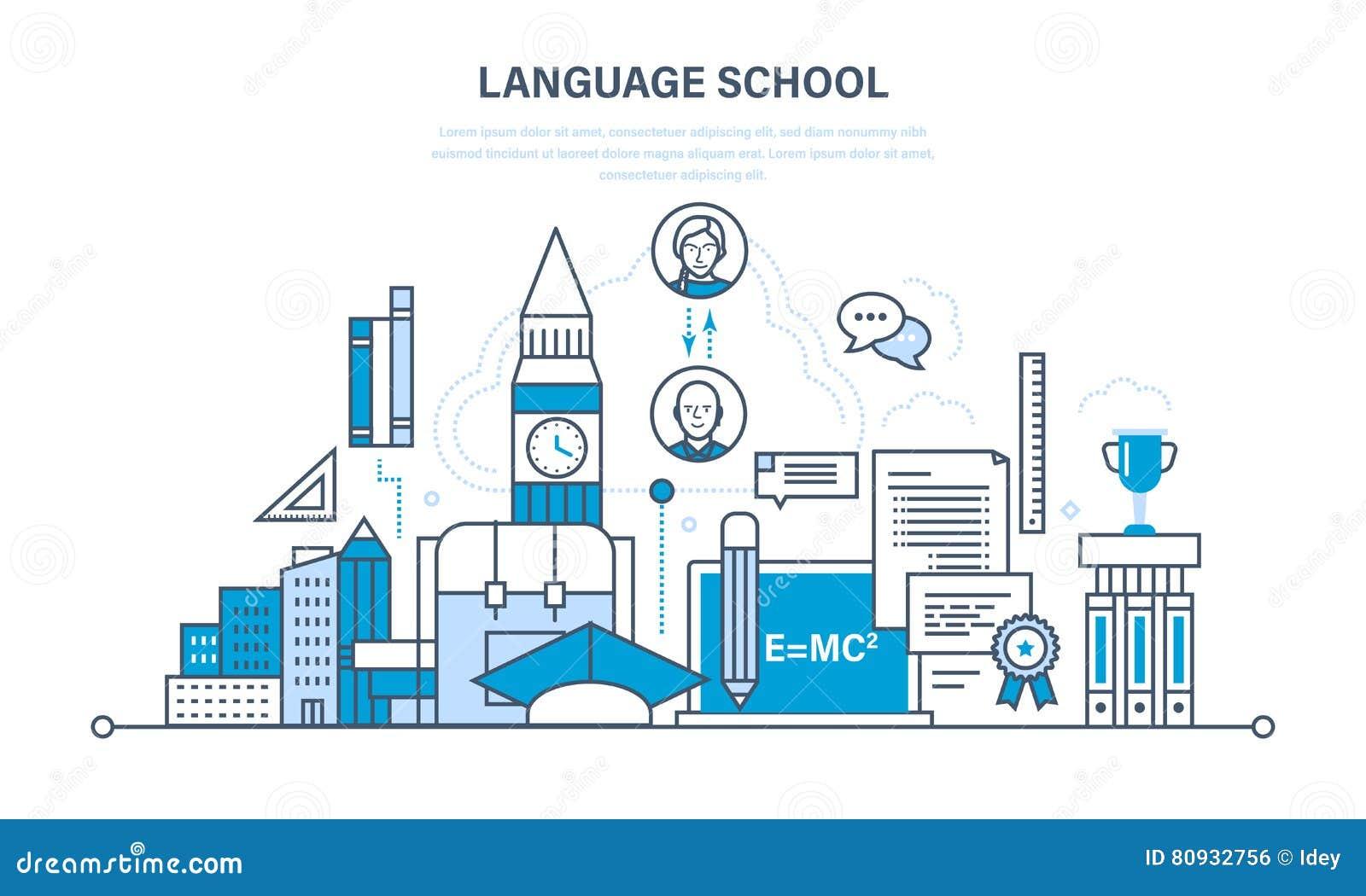 School vreemde taal die, modern onderwijs, afstand, mededeling leren