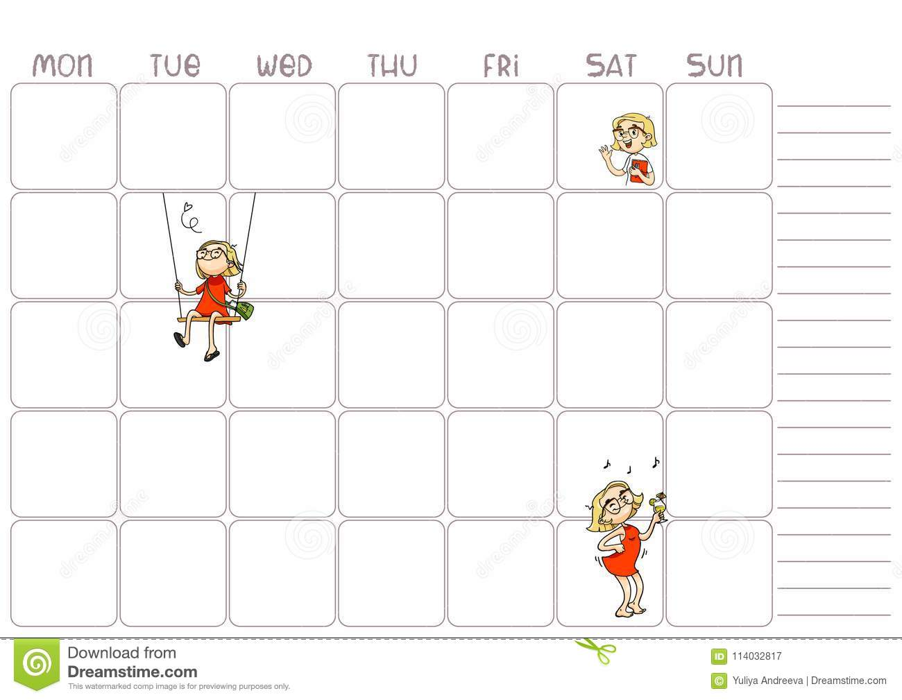 School Daily Weekly Planner Template For Kids Vector