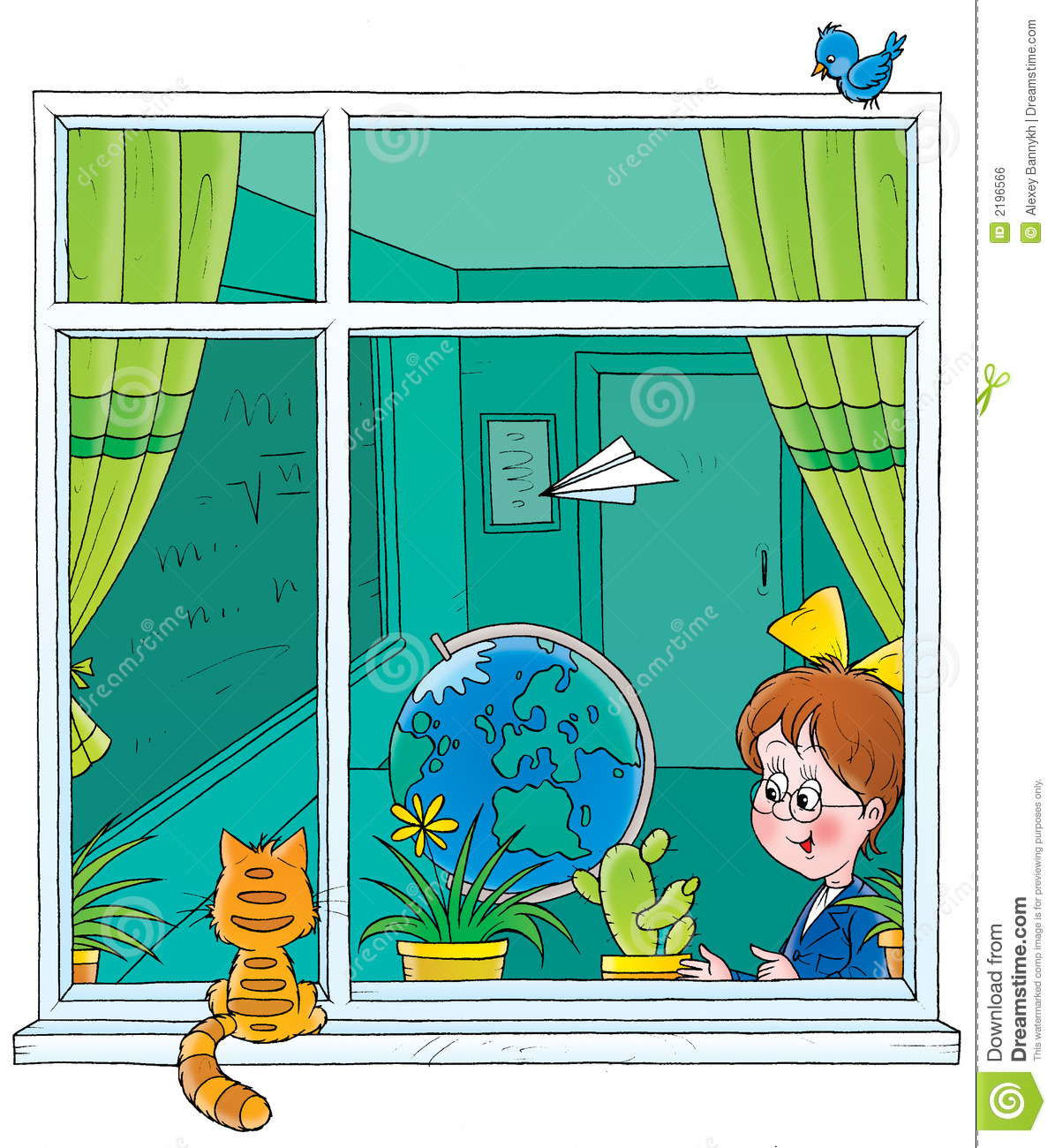 School window stock illustration. Illustration of animated ...