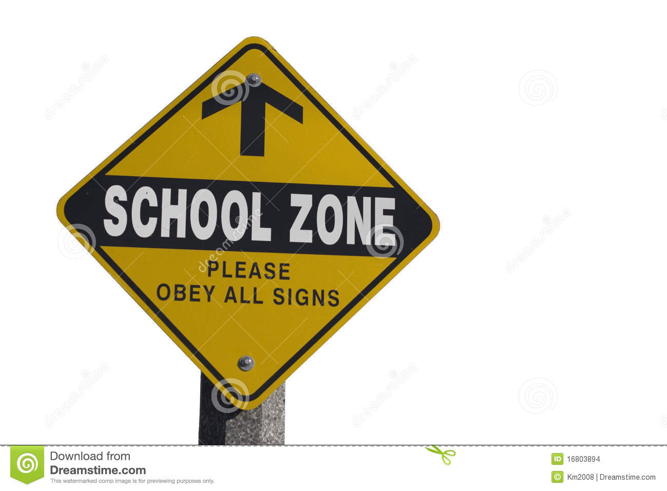 Isolated school zone please obey all signs sign on white background