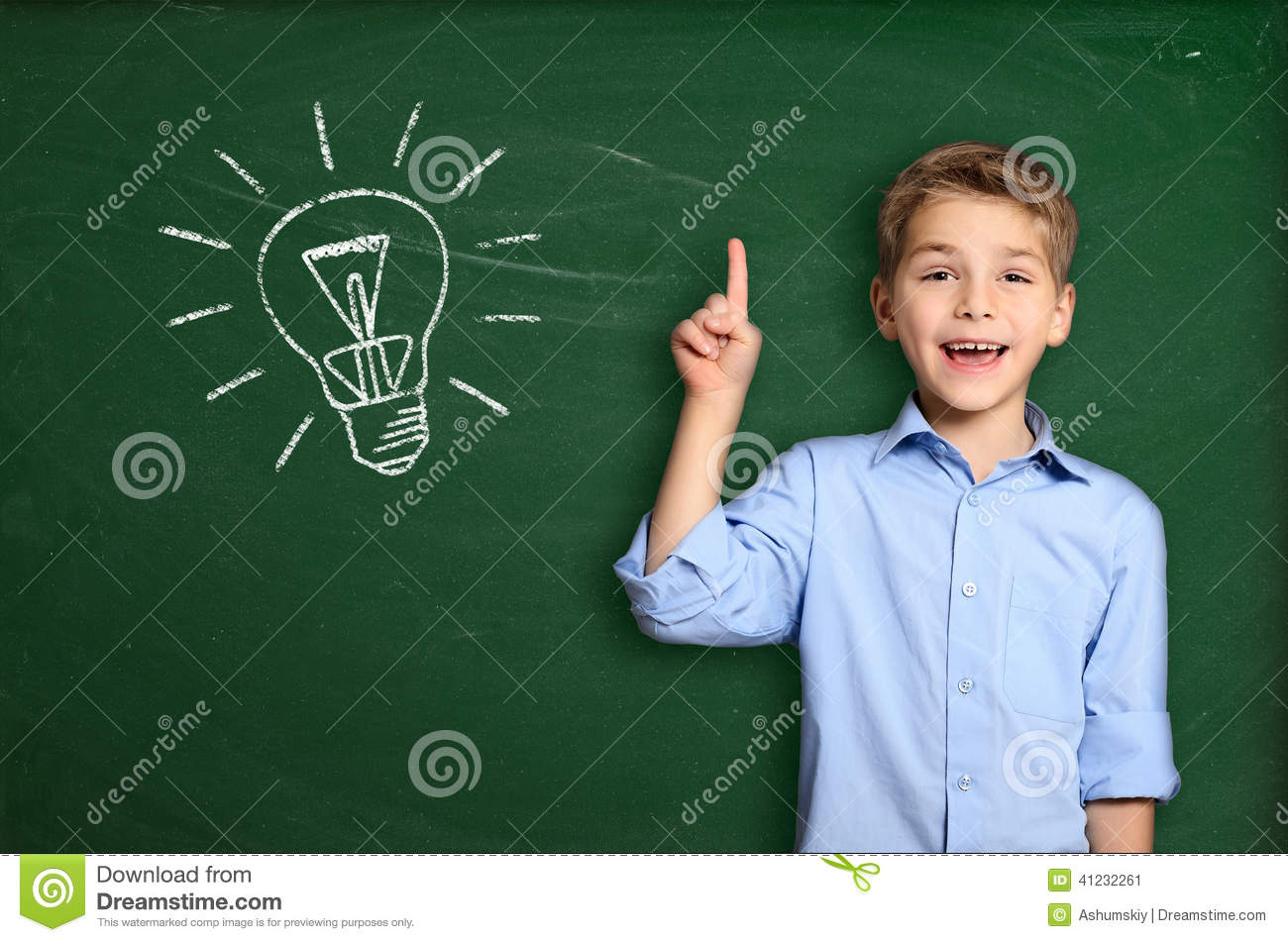 Schoolboy with light bulb