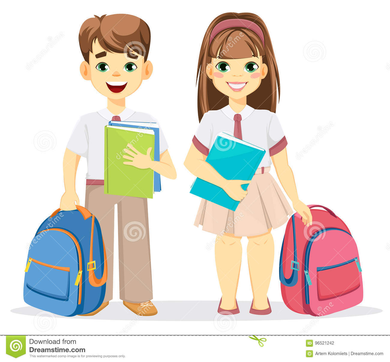 Schoolboy And Schoolgirl With Backpack And Textbooks. Stock Vector ... c79bd9b2a1516