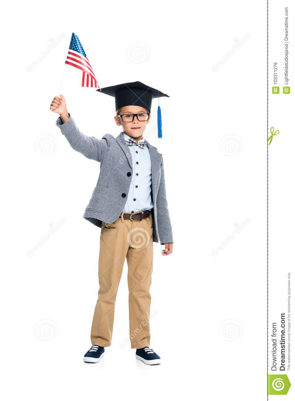 Schoolboy With Usa Flag And Graduation Hat Stock Photo - Image of ... 8063ddf624f