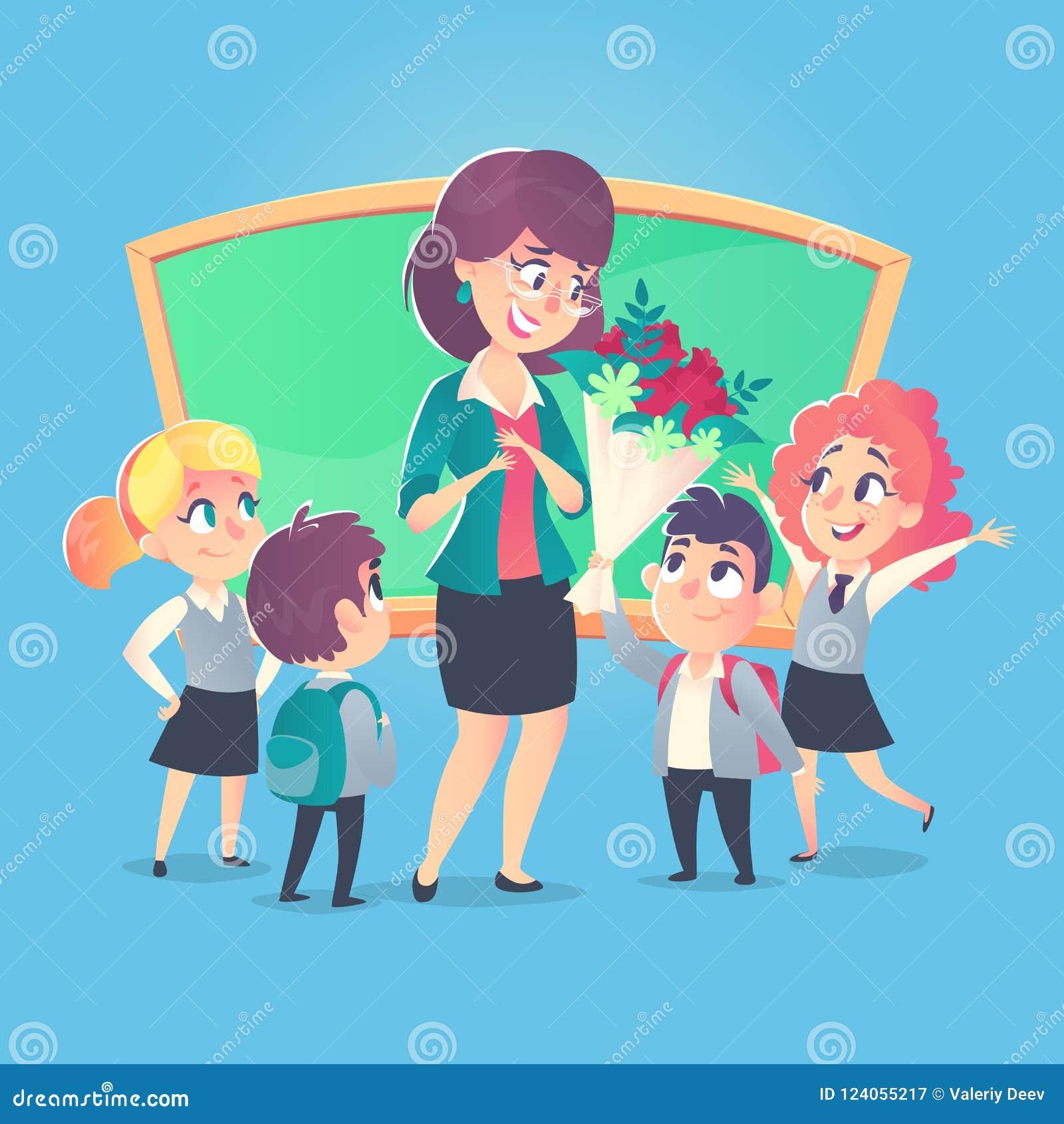 Schoolchildren Give Flowers To The Happy Teacher In