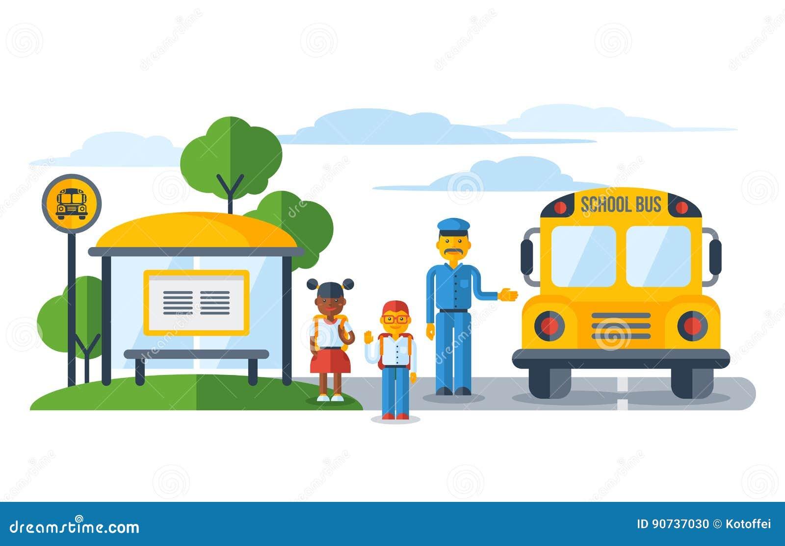 Schoolers Getting On Yellow Schoolbus At Bus Stop Stock ...