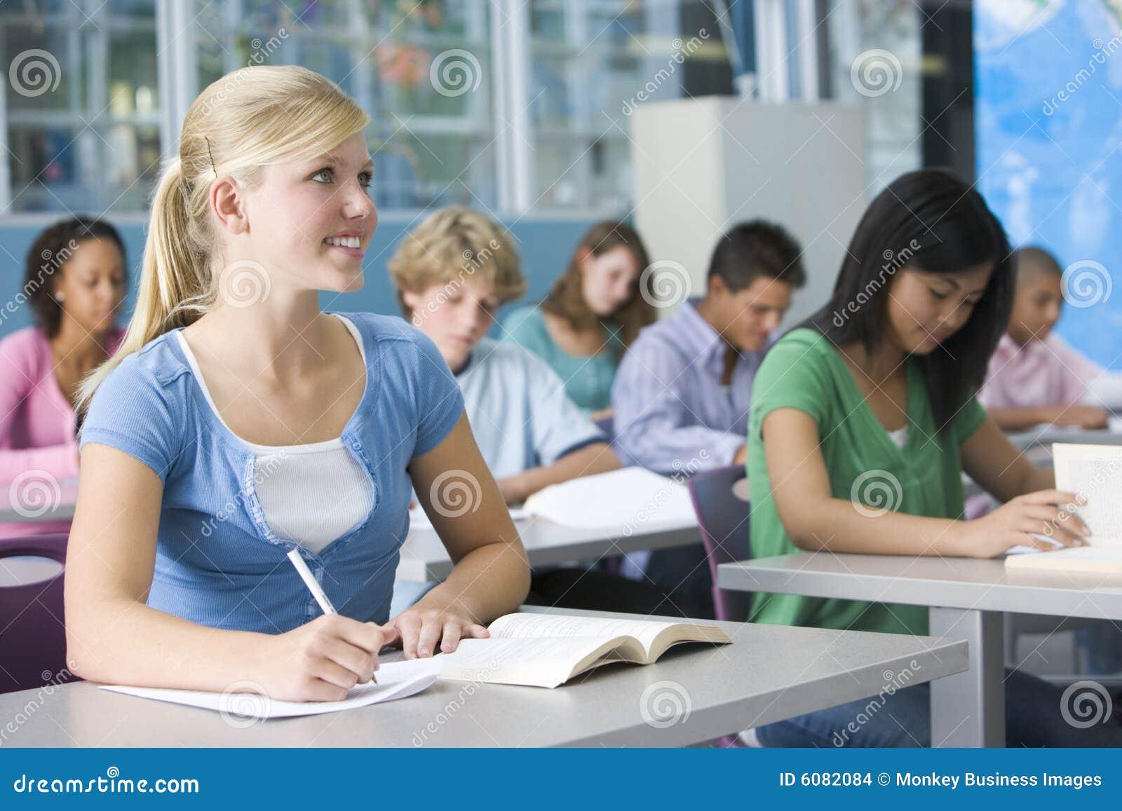 Schoolgirl In High School Class Stock Images - Image: 6082084