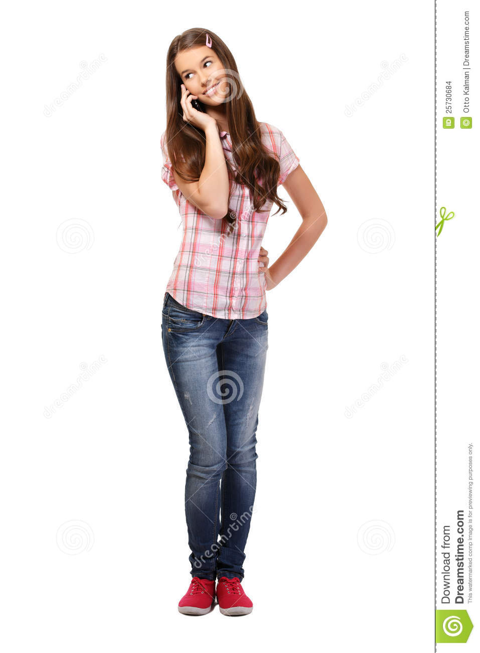 Schoolgirl making a phonecall