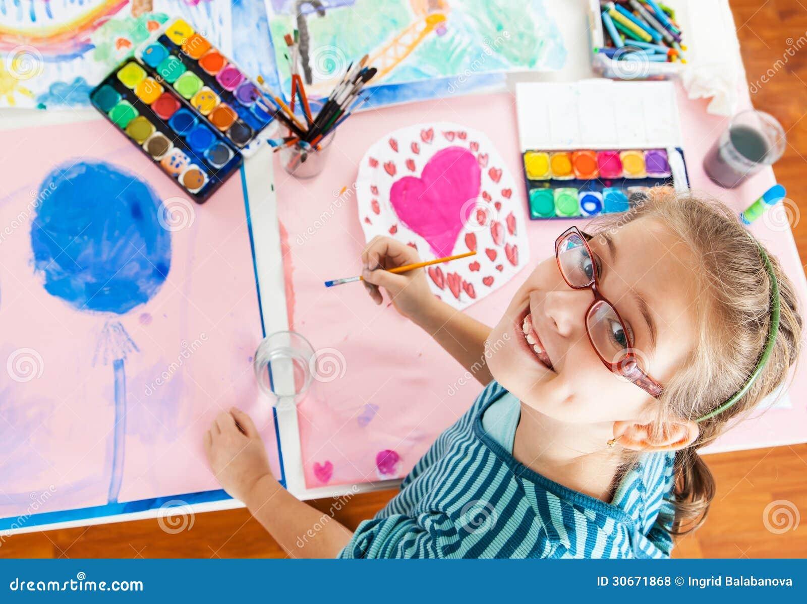Schoolgirl painting