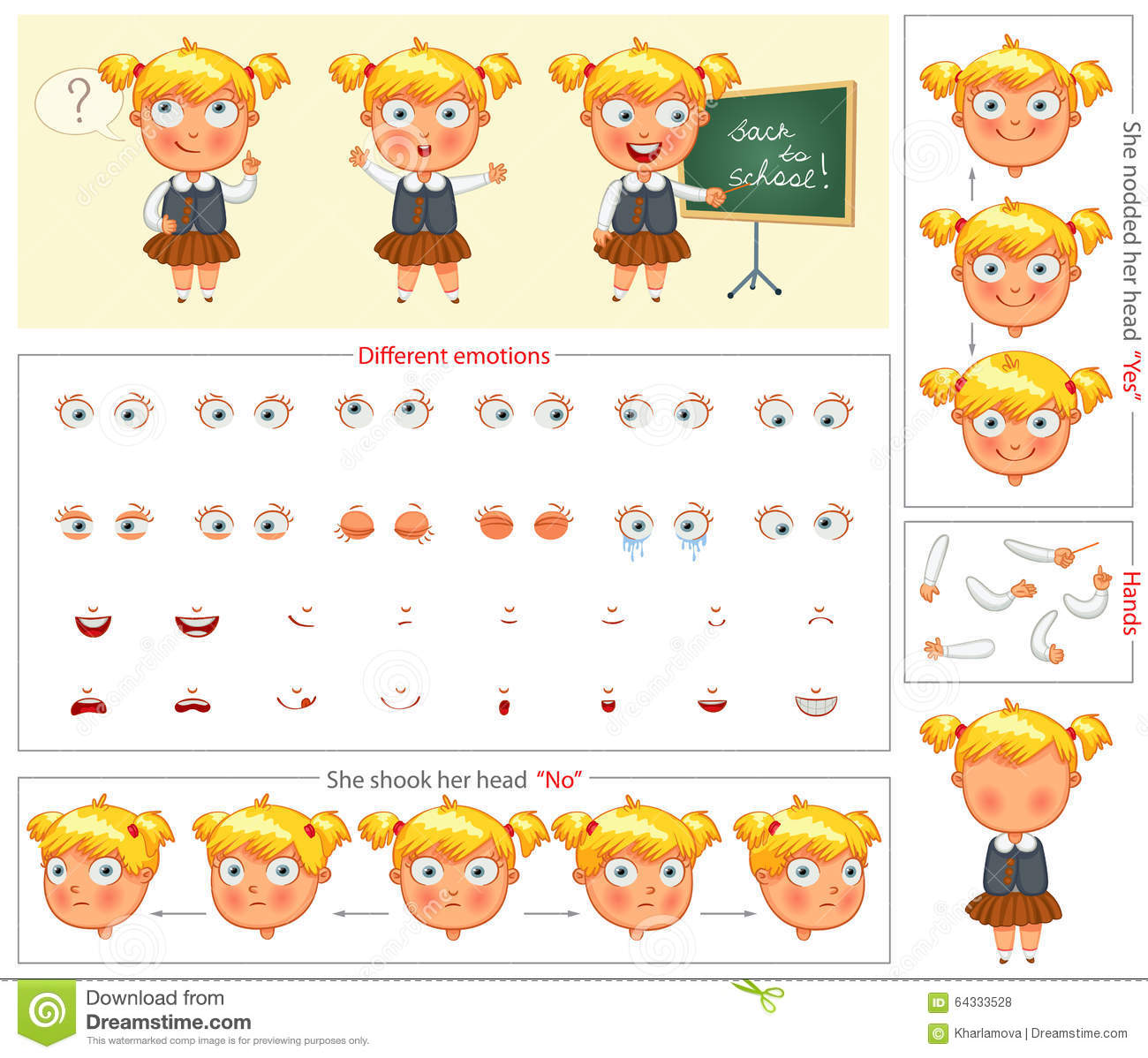 Cartoon Character Design Templates : Schoolgirl parts of body template for design work and