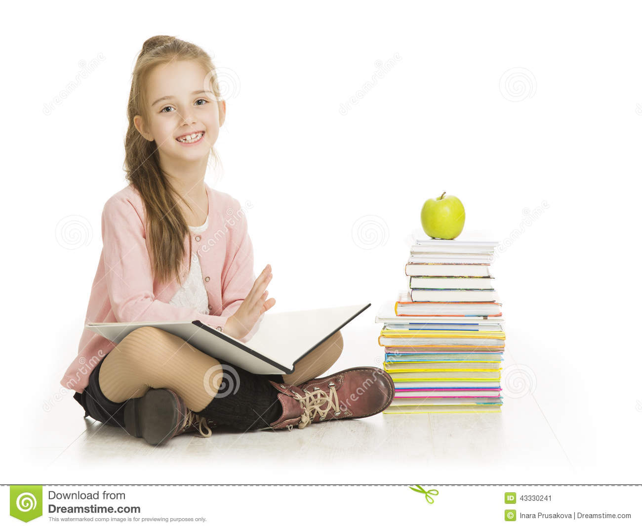 ... Photo: School Girl Reading Book, Child Study Education, Books on White