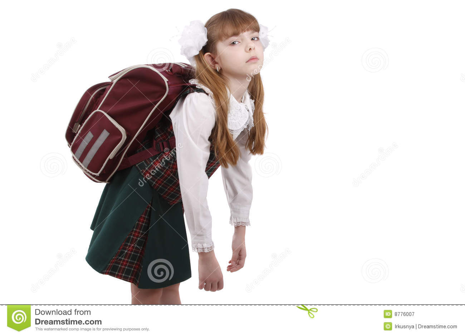 Schoolgirl is tired. Education
